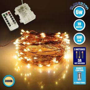 GloboStar® 79780 Διακοσμητική Γιρλάντα Μπαταρίας 10 Μέτρων 100 LED 6 Watt με Χάλκινο Συρμάτινο Καλώδιο και Ασύρματο Χειριστήριο Θερμό Λευκό 3000k