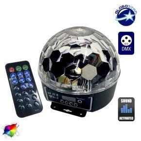 Ασύρματη RGB Disco Μπάλα DMX LED με Χειριστήριο