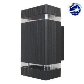 Φωτιστικό Τοίχου Quatro Μαύρο Ματ Αλουμινίου IP65 Up / Down Gu10