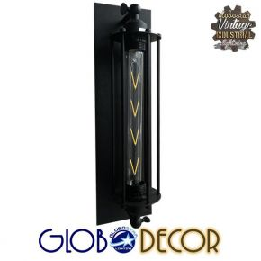 Vintage Μεταλλική Μαύρη Απλίκα Φωτιστικό Globostar TUBULAR 1XE27 με Μεταλλικό Κάλυμμα
