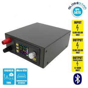 GloboStar® 79984 DPS5020-USB-BT Ψηφιακό Δοκιμαστικό Εργαλείο Ηλεκτρονικού/Τεχνικού Τμήματος Ρυθμιζόμενης Τάσης & Ampere - Βολτόμετρο/Αμπερόμετρο/Βατόμετρο Μετατροπέας με LCD Οθόνη Max Output 0-20A/DC 0-50V/0-1000W με Micro USB & Βluetooth APP