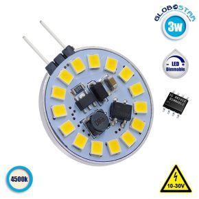 Λάμπα LED G4 15 SMD 2835 3W 10V-30V IC Driver Dimmable 360lm 120° Side Pin Φυσικό Λευκό 4500k GloboStar 87909