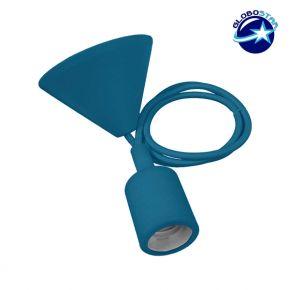 Μπλε Κρεμαστό Φωτιστικό Οροφής Σιλικόνης με Υφασμάτινο Καλώδιο 1 Μέτρο E27 GloboStar Blue 91009