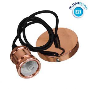 Κρεμαστό Φωτιστικό με Υφασμάτινο Μαύρο Καλώδιο και Χάλκινο Ντουί  Ε27 GloboStar 90012