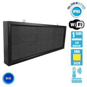 Αδιάβροχη Κυλιόμενη Επιγραφή SMD LED 230V USB & WiFi Μπλε Μονής Όψης 104x40cm GloboStar 90136