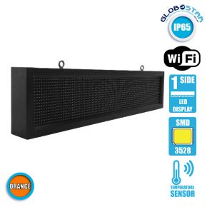 Αδιάβροχη Κυλιόμενη Επιγραφή SMD LED 230V USB & WiFi Πορτοκαλί Μονής Όψης 100x20cm GloboStar 90144