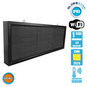 Αδιάβροχη Κυλιόμενη Επιγραφή SMD LED 230V USB & WiFi Πορτοκαλί Μονής Όψης 104x40cm GloboStar 90145