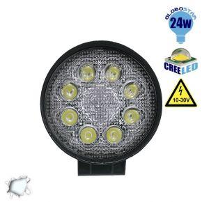 Προβολέας LED Εργασίας Round 24 Watt 10-30v Ψυχρό Λευκό