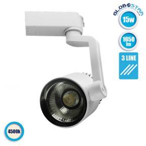 Διφασικό Bridgelux COB LED Φωτιστικό Σποτ Ράγας 15W 230V 1650lm 24° Φυσικό Λευκό 4500k GloboStar 93081
