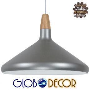 Μοντέρνο Κρεμαστό Φωτιστικό Οροφής Μονόφωτο Ασημί Μεταλλικό Καμπάνα Φ39 GloboStar FELICITA 01276