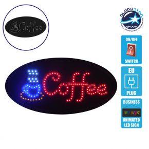 Φωτιστικό LED Σήμανσης Οβάλ COFFEE με Διακόπτη ON/OFF και Πρίζα 230v 48x2x25cm GloboStar 96303