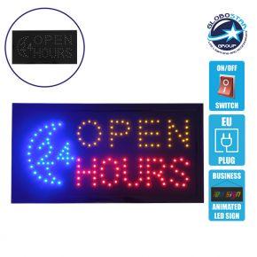 Φωτιστικό LED Σήμανσης OPEN 24 HOURS με Διακόπτη ON/OFF και Πρίζα 230v 48x2x25cm GloboStar 96305