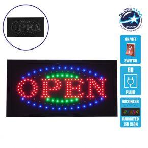 Φωτιστικό LED Σήμανσης OPEN με Διακόπτη ON/OFF και Πρίζα 230v 48x2x25cm GloboStar 96306