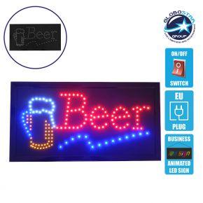 Φωτιστικό LED Σήμανσης BEER με Διακόπτη ON/OFF και Πρίζα 230v 48x2x25cm GloboStar 96308