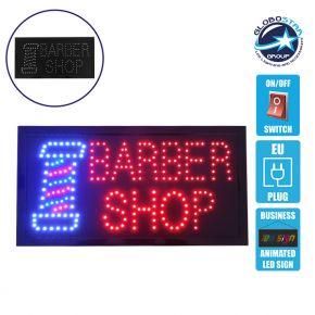 Φωτιστικό LED Σήμανσης BARBER SHOP με Διακόπτη ON/OFF και Πρίζα 230v 48x2x25cm GloboStar 96313