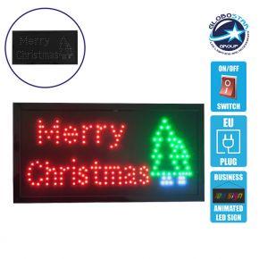 Φωτιστικό LED Σήμανσης MERRY CHRISTMAS WITH TREE με Διακόπτη ON/OFF και Πρίζα 230v 48x2x25cm GloboStar 96314