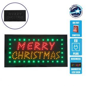 Φωτιστικό LED Σήμανσης MERRY CHRISTMAS με Διακόπτη ON/OFF και Πρίζα 230v 48x2x25cm GloboStar 96315