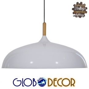 Μοντέρνο Κρεμαστό Φωτιστικό Οροφής Μονόφωτο Λευκό Καμπάνα Φ60 GloboStar VALLETE WHITE 01257