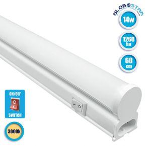 GloboStar 99316 Γραμμικό Φωτιστικό T5 Linear 60cm LED SMD 2835 14W 1260 lm 240° AC 85-265V IP20 με Διακόπτη ON/OFF Θερμό Λευκό 3000 K