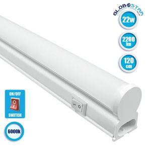 GloboStar 99320 Γραμμικό Φωτιστικό T5 Linear 120cm LED SMD 2835 24W 2200 lm 240° AC 85-265V IP20 με Διακόπτη ON/OFF Ψυχρό Λευκό 6000 K