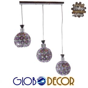 Μοντέρνο Κρεμαστό Φωτιστικό Οροφής Τρίφωτο Ασημί με Κρύσταλλα GloboStar ILLUME 01249