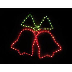 ACA Φωτοσωλήνας Σχέδιο Double Bells 108 Flash Lights 3mm Κόκκινο Πράσινο 55x55cm IP44