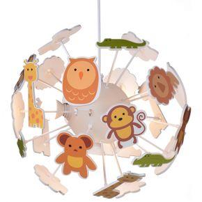 ACA Κρεμαστό Παιδικό Φωτιστικό 4xE14 Πολύχρωμο Ζωάκια Zoo