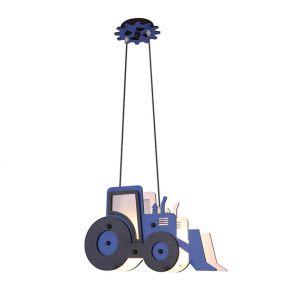 ACA Κρεμαστό Παιδικό Φωτιστικό Μπλε MDF Μπουλντόζα Vroom 2xE14
