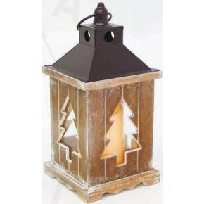 ACA LED Φανάρι Χριστουγεννιάτικο από Ξύλο & Μέταλλο με Κερί Θερμό Λευκό IP44