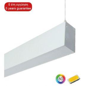 ACA LED Γραμμικό Κρεμαστό Φωτιστικό 2x37W SMD Έμμεσου-Άμεσου Φωτισμού Με Πολυκαρβονικά Ημιδιαφανή Καλύμματα IP44 1420mm