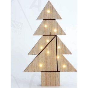 ACA LED Χριστουγεννιάτικο Δέντρο Ξύλινο Διακοσμητικό με Μπαταρίες 10 Leds 5mm IP20