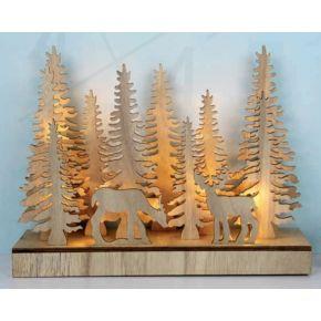 ACA LED Χριστουγεννιάτικο Διακοσμητικό Μπαταρίας Plywood 22 Leds 5mm Θερμό Λευκό IP20