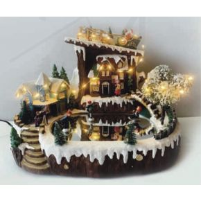 ACA LED Χριστουγεννιάτικο Διακοσμητικό Χωριό με Κίνηση & Μουσική IP20 X0309