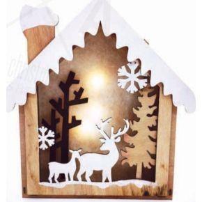 ACA LED Χριστουγεννιάτικο Σπιτάκι Διακοσμητικό Μπαταρίας Plywood 8 Mini Leds Θερμό Λευκό IP20