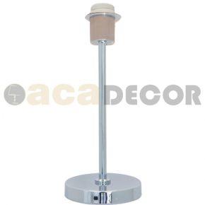 ACA Πορτατίφ Μεταλλικό 1xE27 Chrome Κυκλική Βάση Με Λευκό Καλώδιο Mix&Match Χωρίς Καπέλο