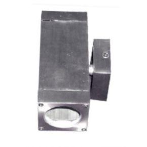 ACA Spot Επίτοιχο Τετράγωνο GU10 UP-DOWN Αλουμίνιο Nickel Mat IP65