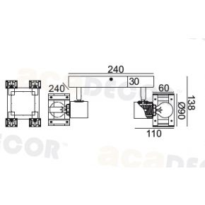 ACA Spot Τετράφωτο Οροφής E14 Ξύλο Και Λευκό Μέταλλο Talos