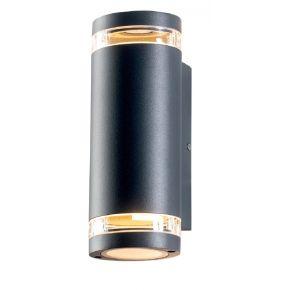 ACA Απλίκα Τοίχου Melitta Up-Down 2xGU10 Max 7W LED Αλουμίνιο Σκούρο Γκρι IP54