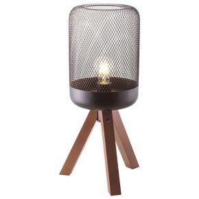 ACA Επιτραπέζιο Φωτιστικό E27 Μαύρο Μεταλλικό Με Ξύλο Parot