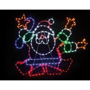 ACA LED Φωτοσωλήνας Dance Santa 288 Flash LEDs 3mm Multicolor 96x80cm IP44