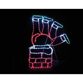 ACA LED Φωτοσωλήνας Santa Climb Chimney 264 Flash Leds 3mm Multicolor 78x100cm IP44 με Βάση