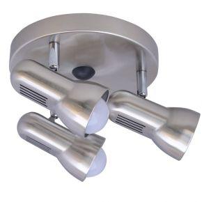 ACA LED Spot Τριπλό Οροφής Στρογγυλή Βάση E27 R63 Nickel