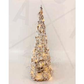 ACA LED Χριστουγεννιάτικο Δέντρο Μπαταρίας Rattan 40 Mini Leds Θερμό Λευκό IP20