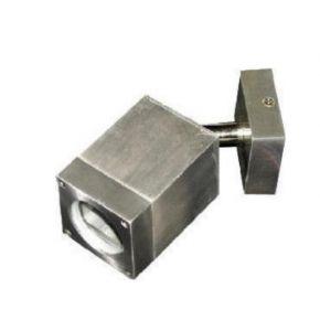 ACA Spot Επίτοιχο Τετράγωνο GU10 Αλουμίνιο Nickel Mat IP65