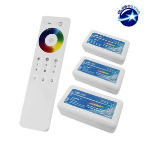 Ασύρματος LED RGB Controller με Χειριστήριο Αφής 2.4G RF για Τρία Group 12v (432w) - 24v (864w) DC GloboStar 04242