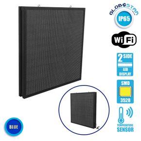 Αδιάβροχη Κυλιόμενη Επιγραφή SMD LED 230V USB & WiFi Μπλε Διπλής Όψης 100x100cm GloboStar 90161
