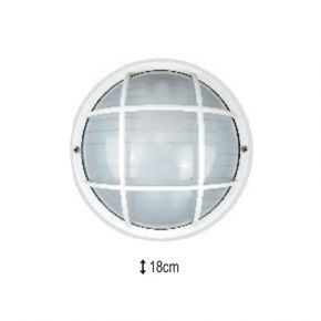 Alfa LED Πλαφονιέρα με Γυαλί και Πλέγμα 60W E27 IP44
