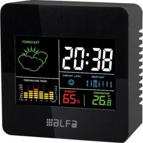 Alfa Μετεωρολογικός Σταθμός Επιτραπέζιος Με Ρολόι Έγχρωμες Ενδείξεις Μαύρο