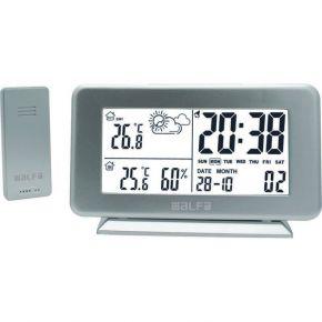 Alfa Μετεωρολογικός Σταθμός Επιτραπέζιος Με Ρολόι Μέτρηση Εξωτερικής Θερμοκρασίας Silver