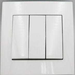 BAS Απλός Χωνευτός Διακόπτης 3 Πλήκτρων EYBOIA